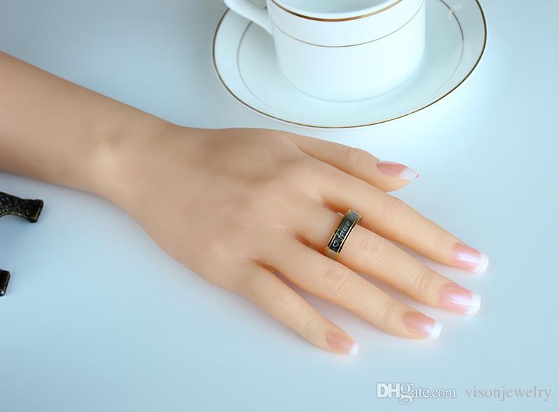 Gravura livre 6mm Dois Tons de Aço Inoxidável 316L Anéis De Casamento Para Sempre Amor Anel Amantes Promessa Casal Anéis