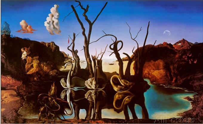 salvador dali painting for sale abstract art oil canvas swans