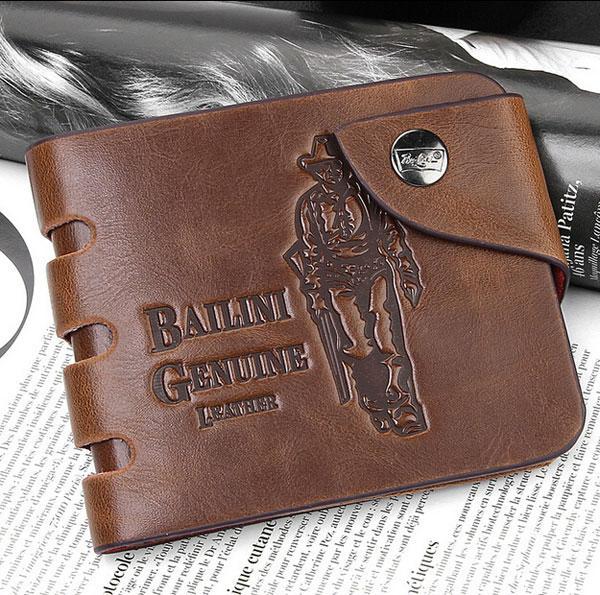 New Mens Leather Wallets Cowboy Men Pockets Wallet Card Clutch Center Bifold Purse For Men/Women Spring Brand