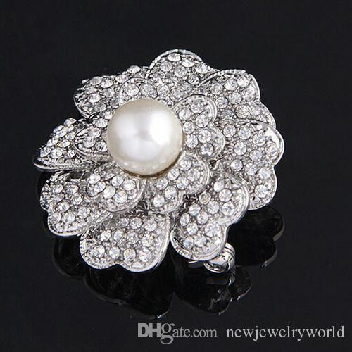 Vintage Fashion Women Crystal Flower Brooch 100% Good Quality Cream Pearl Flower Brooch Pins For Wedding Elegant Dress Bridal Breastpin