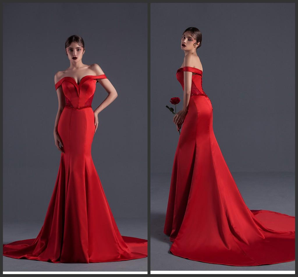 Red Off Shoulder Prom Dresses Lace UP Sweep Train Formal Gowns Women ...