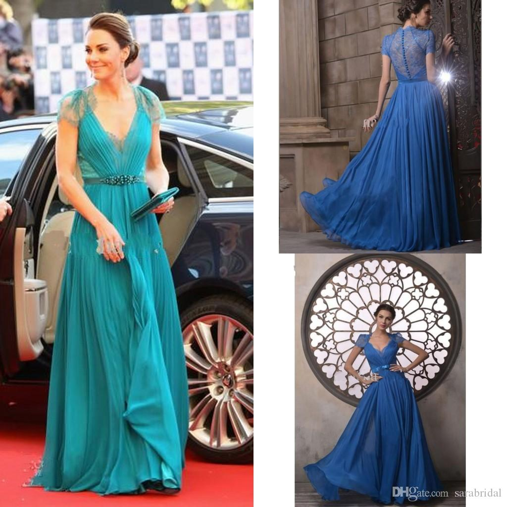 Custom Kate Middleton Celebrity Dresses By Jenny Packham V Neck Cap Sleeve  Chiffon Lace Evening Gowns 2013 Evening Dresses Red Carpet Gowns Long Black  ... 098f6416a2c8