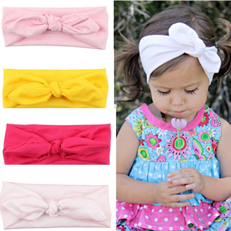 e06806343b06 Elastic Hair Ties Baby Girl Headbands Cute Rabbit Ears Bow Hair Bands Baby  Cloth Headband Bowknot Headwear Hair Accessories For Flower Girl Silver Hair  ...
