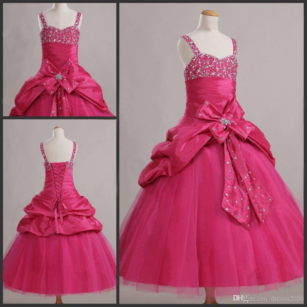 Sweet Green Taft Straps Perlen Hochzeit Blumenmädchenkleider Mädchen Pageant Kleider Dressy Rock Benutzerdefinierte Größe 2 4 6 8 10 12 DF621001