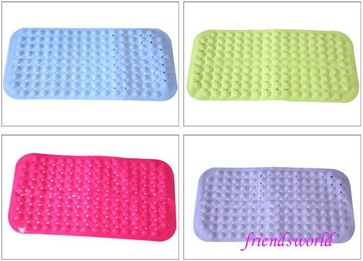 Factory Wholesale Bath Mats Antislip Massage Mats Colorful Bathroom Pierced PVC Plastic Safe Pad with Suction Cups