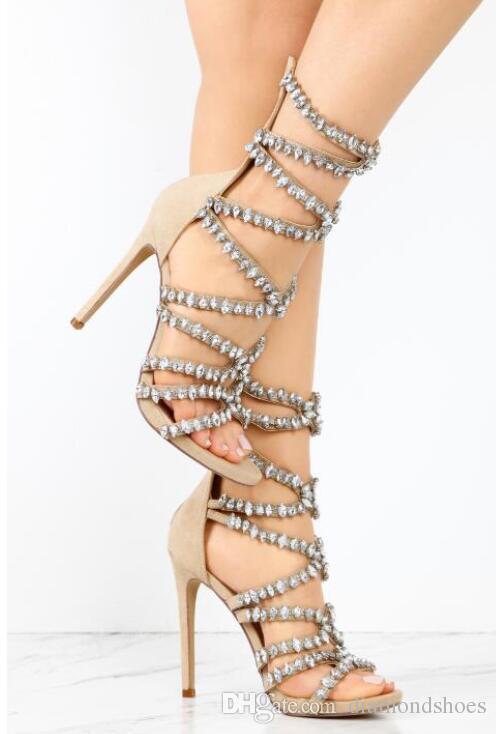 Роскошные хрустальные босоножки на ремне с открытым носком на высоком каблуке из черной замши кожаные женские сексуальное платье на шпильке назад ну вечеринку обувь