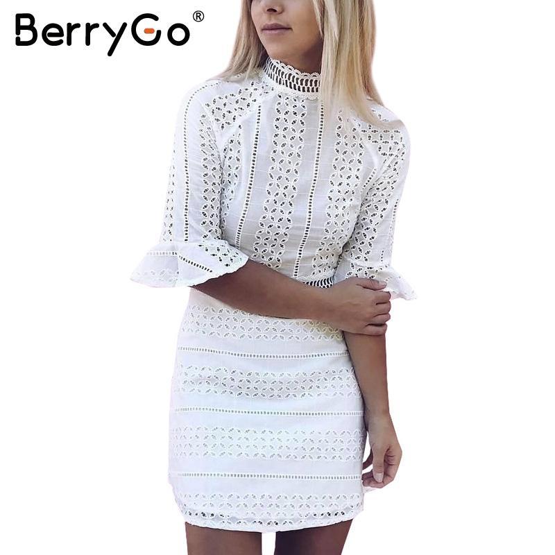 Großhandel Berrygo Sexy Aushöhlen Vintage Spitzenkleid Frauen Halbe ...