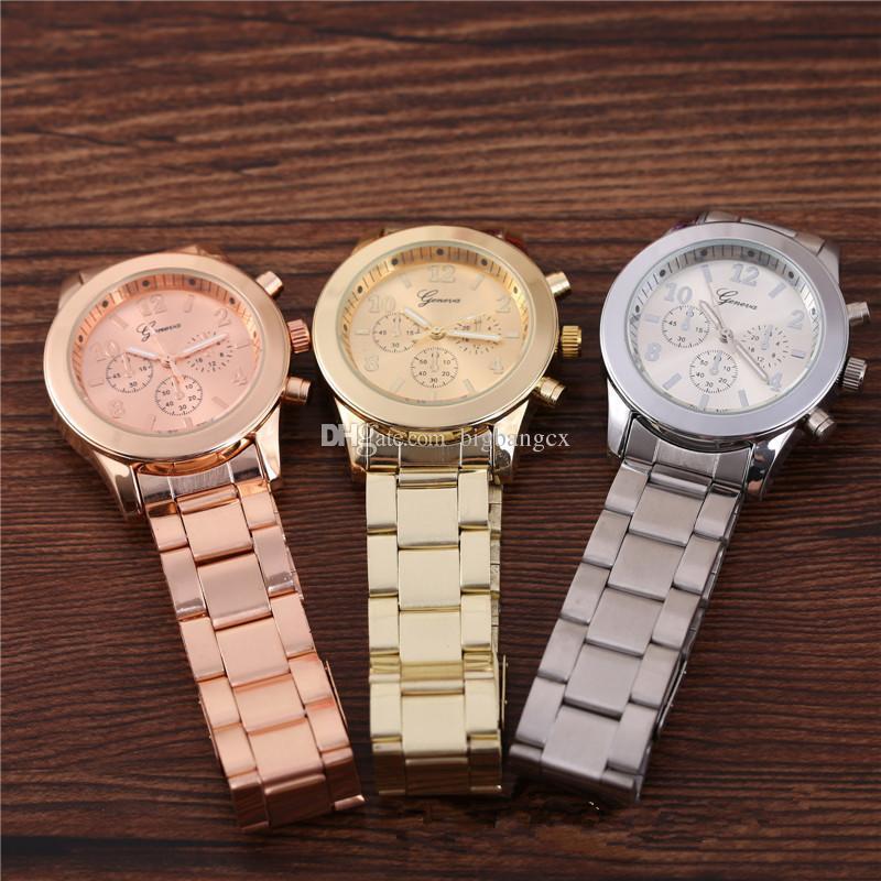 Modehorloge Vrouwen Mannen Genève Rvs Quartz Horloges Luxe Dames Cool Goud Analoog Drie Ogen Horloge