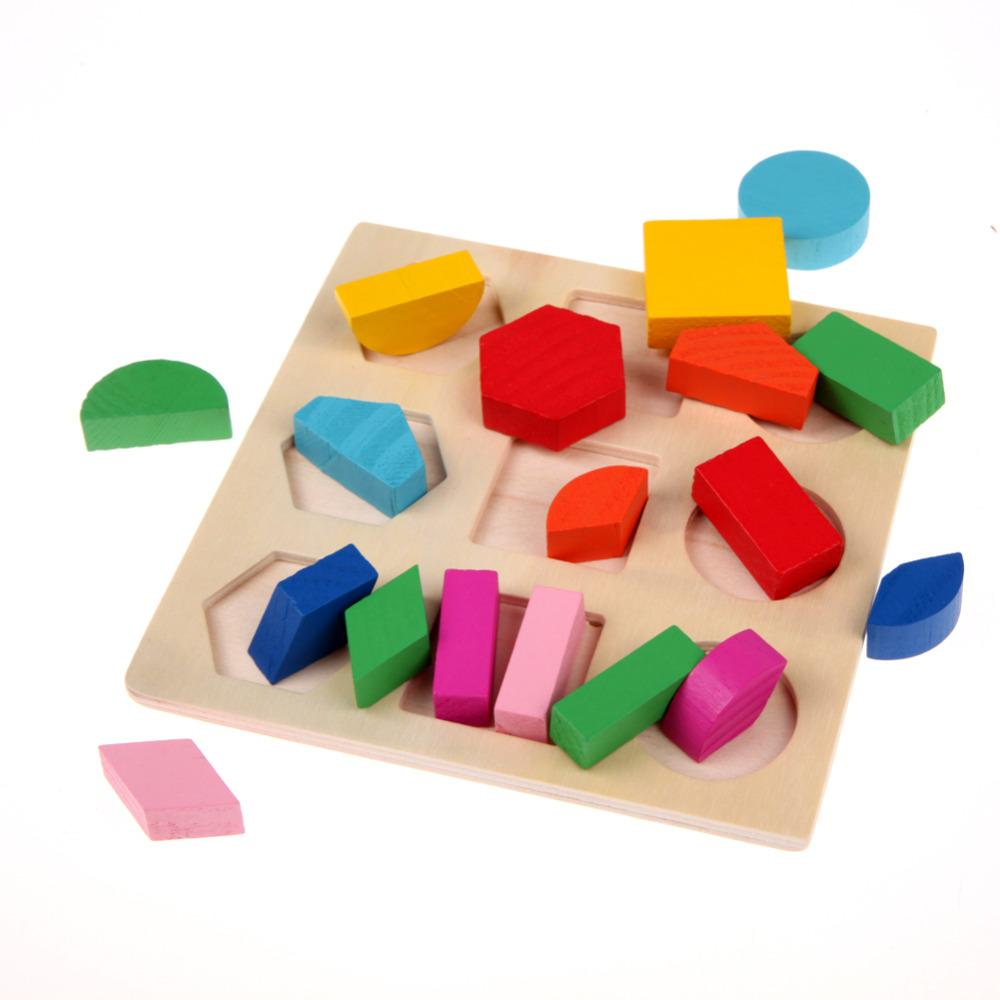 kids baby montessori wooden toys puzzle learning colorful geometry  educational toys for children wood toy puzzles dropshipping