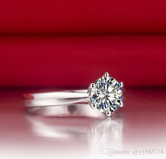 الأزياء 2CT موجزة الساحرة المشاركة المجوهرات الاصطناعية خاتم الماس للنساء فضة البلاتين مطلي خاتم الزواج