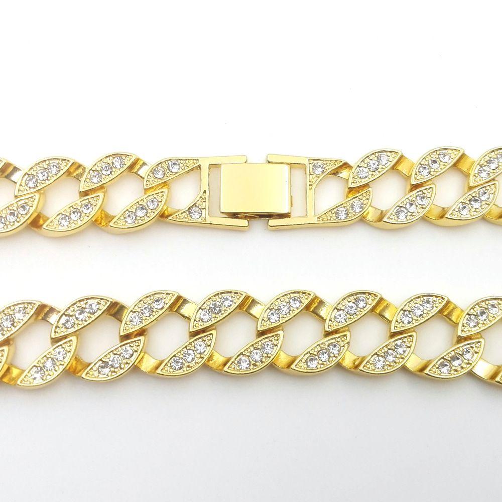 14 K Sarı Katı Ince Altın FINISH Dışarı Buzlu KÜBA Miami Zincir Bağlantı Mikro Açacağı Lab Elmas Kolye Uzun 30 INÇ 15 MM Geniş