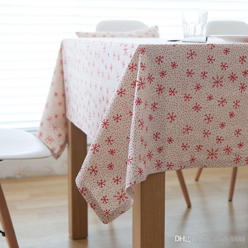 Linen Table Cloth Christmas Snowflake Style Printed Christmas Tablecloth  Nappe Table Cover Manteles Para Mesa Mesa Various Sizes Tablecloth Vinyl  Washable ...