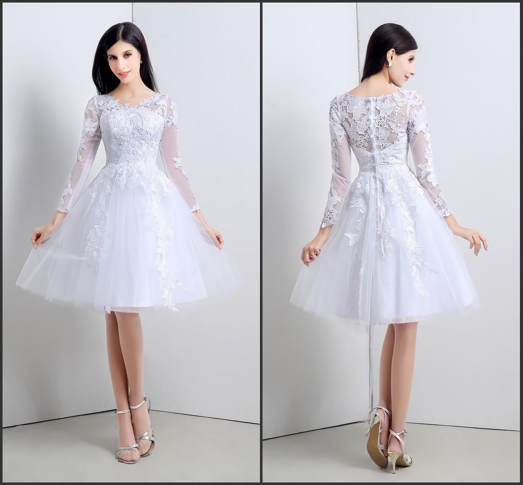 Short Homecoming Dresses Long Sleeve In Stock 2015 Sheer Lace ...