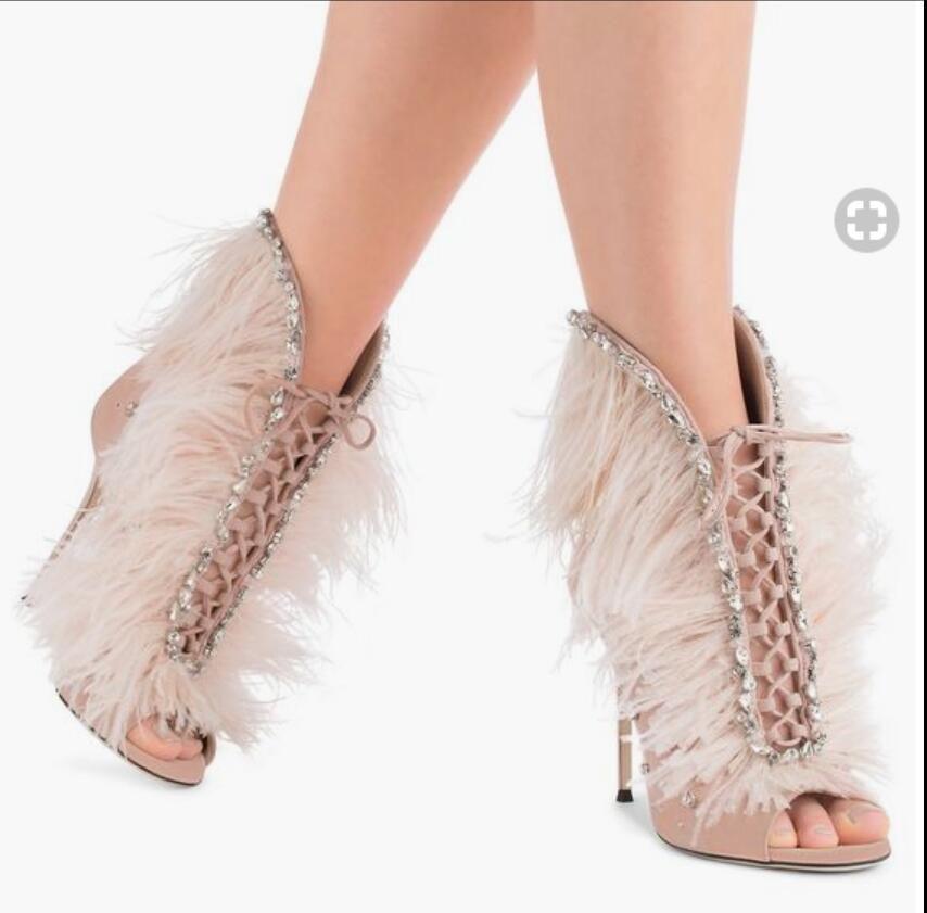 2017 mujeres de moda botas de tobillo peep toe botines botas de tacón alto botas de diamantes botas de color rosa zapatos de fiesta mujeres botines de plumas
