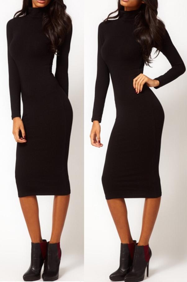 2014 Nowa Moda Elegancki Pełny Rękaw Średniej łydki Vintage Pinup Charm Temperament Slim Formalna Suknia Party Ołówek Stretch LQ4691