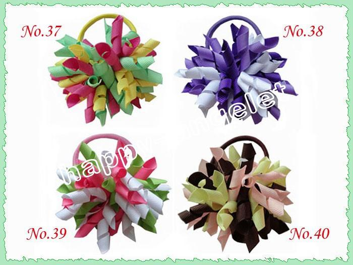 Girl Korker ponytail Hair ties holders streamer corker hair bows clip Cheer Bows Curly Ribbon Bow Hair bobbles PD006