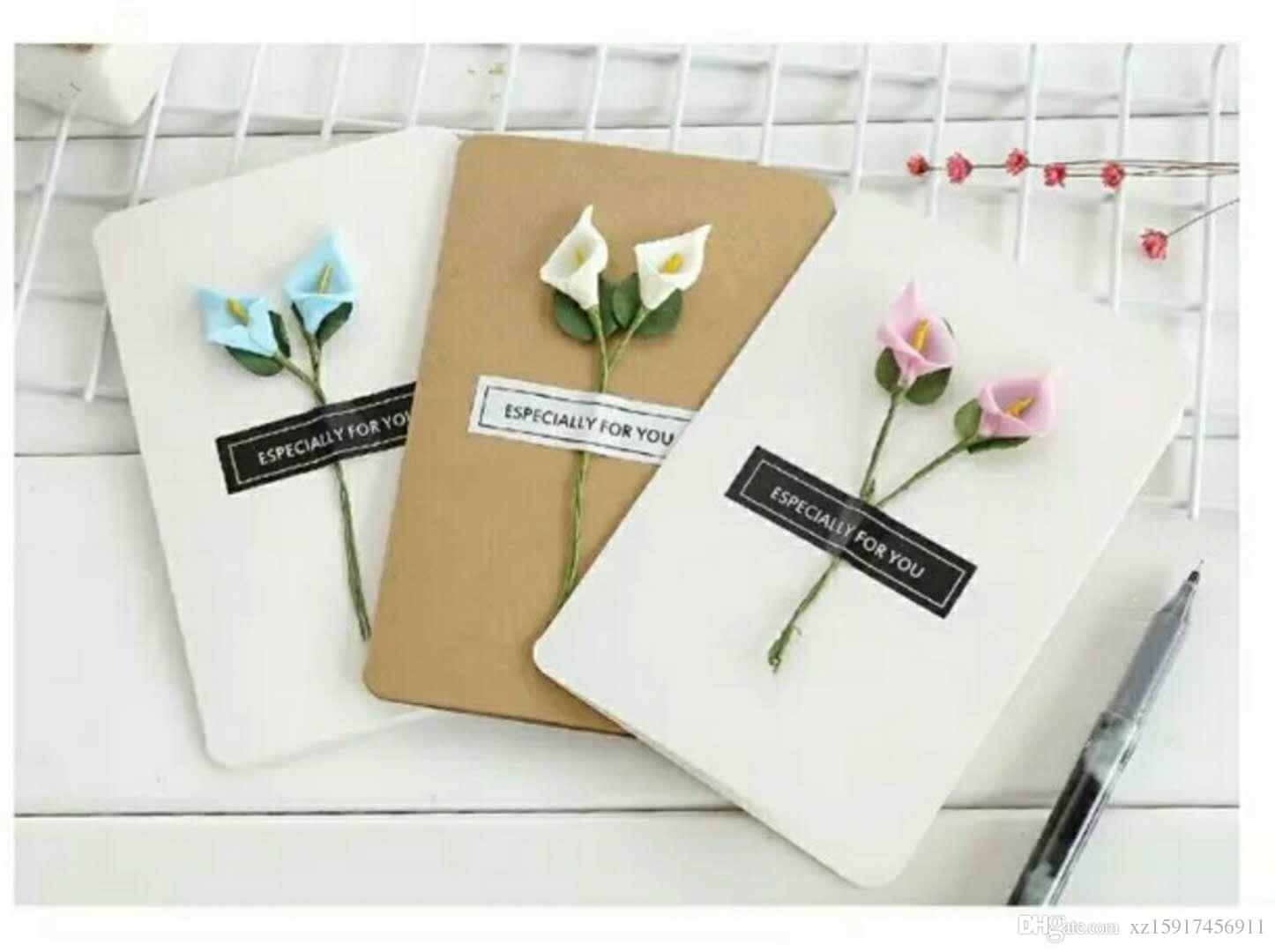Creative And Pure Hand Made Flower Greeting Card Holiday Message