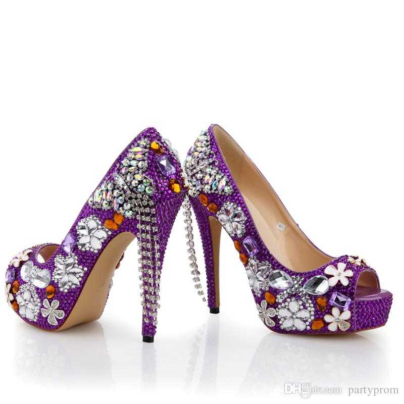 Purple Rhinestone Wedding Shoes Handmade Butterfly Tassel Bridal Dress Shoes Peep Toe High Heel Platform Party Prom Pumps