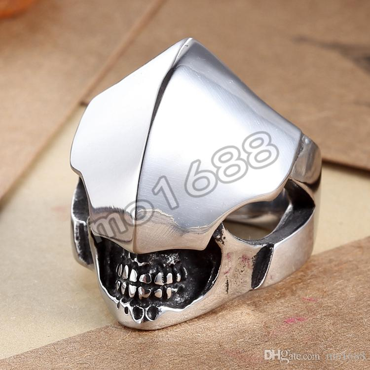 Big Heavy Casting Black Silver 361L Stainless Steel Armour Helmet Skull Ring Size 7-13