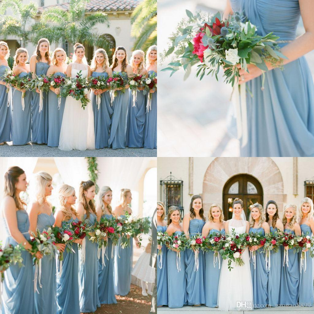 Cheap steel blue long beach bridesmaid dresses wedding for Blue beach wedding dresses