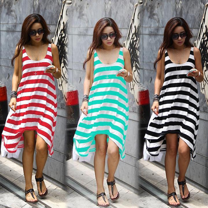 1caf7445fb X201711 Wholesale And Retail Women Summer Dresses Girl Casual Stripe  Irregular Beach Dress Sleeveless Sexy Sundress Short Dresses Floral Dresses  From ...