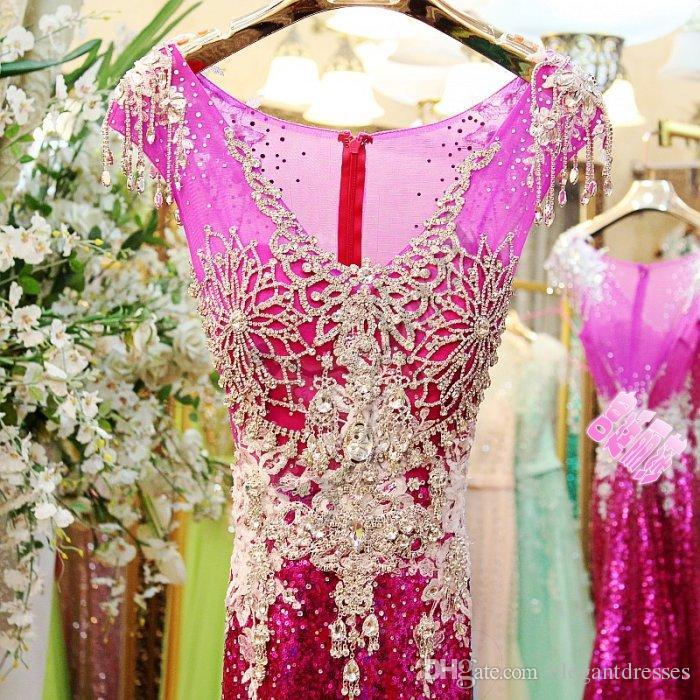 Elegante Fushia Kristall Prom Kleider für Party Perlen Backless Abend Promi Festzug Abendkleider Plus Größe 2018 Günstige