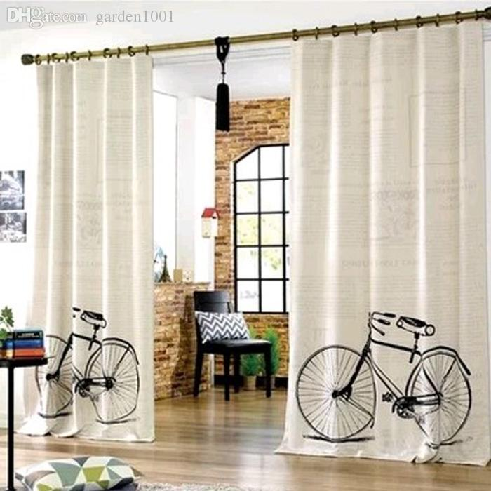 vintage bicycle love bedroom window curtains living room curtain