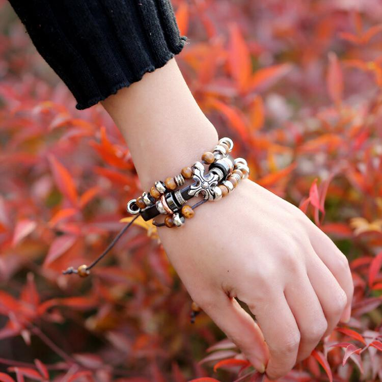 Newly Design Handmade Charms Bracelets Fashion Retro Cross Infinity Charms For Men Leather Beads Bracelets Bangles Jewelry