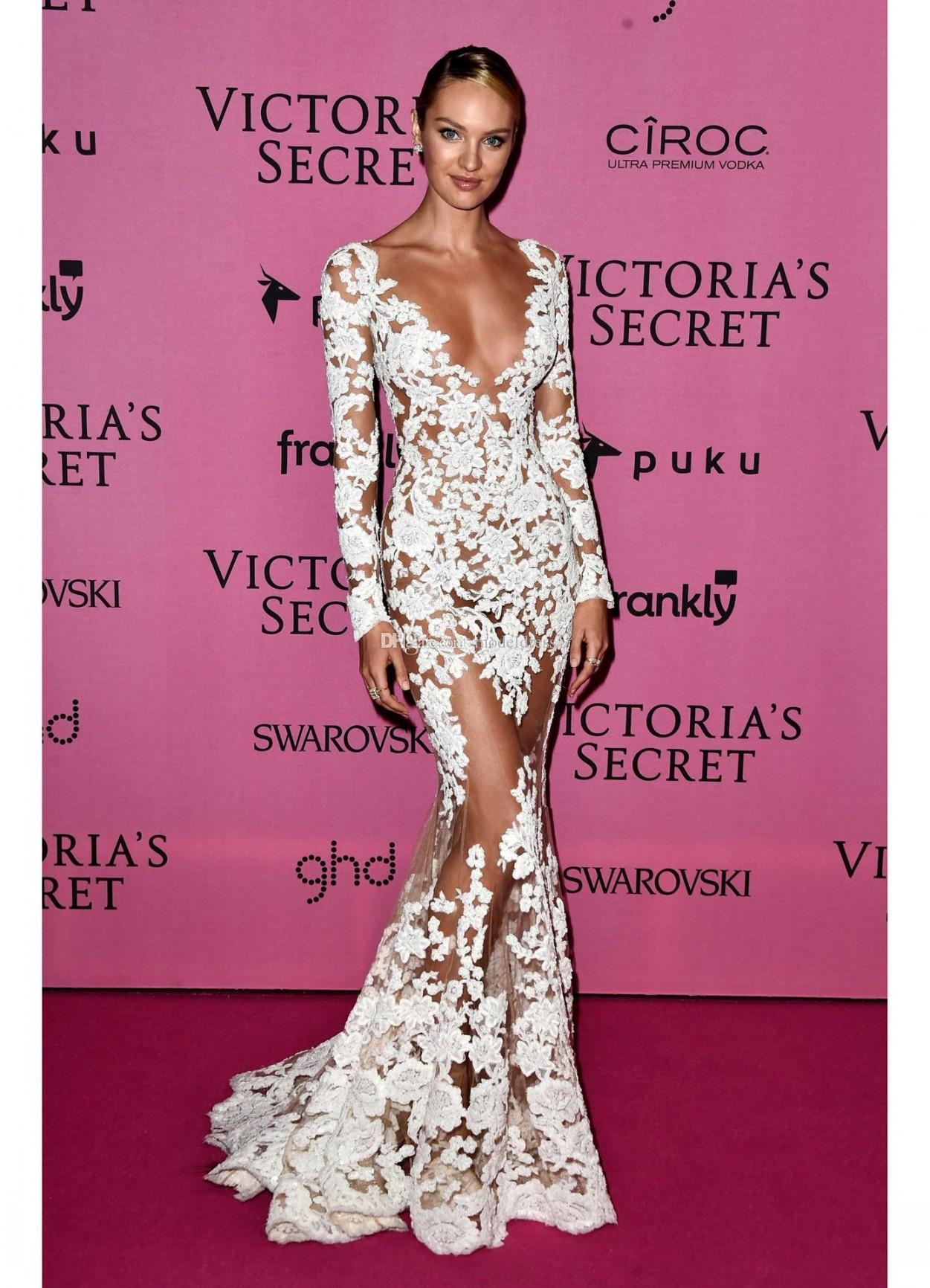 Zuhair Murad 2018 Sheer Lace Abendkleider mit langen Ärmeln V-Ausschnitt Applikationen lange CANDICE SWANEPOEL Trägt Illusion Prom Celebrity Party Kleider