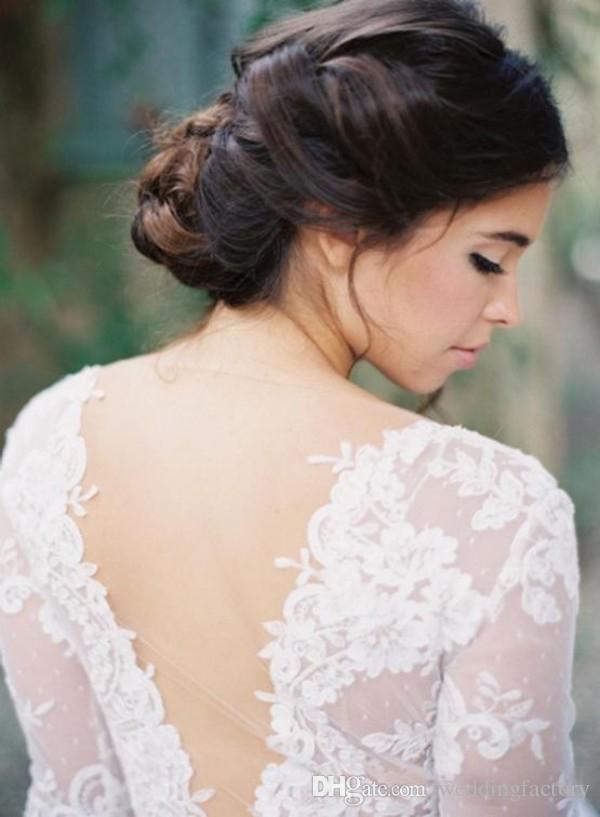 Ilusión sexy Vestidos de novia Una línea Cuello en V A través de medias mangas Apliques de encaje Hasta el suelo Vestidos de novia de gasa Fiesta de jardín