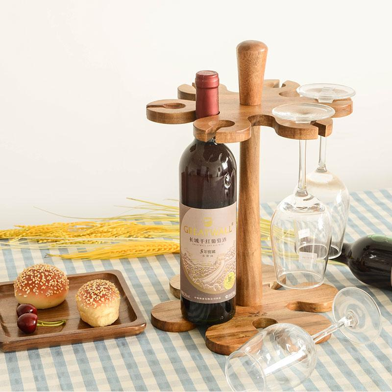 Wood Whisky Bottle Holder Ideas: 2017 Creative Acacia Wood Bar Beer Wine Rack, Wine Holder