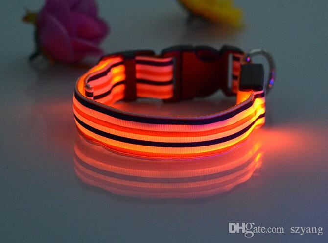New Arrival Kolorowe Stripe Design Collar Pet Dog Bezpieczeństwo LED Collar LED Light Up Flashing
