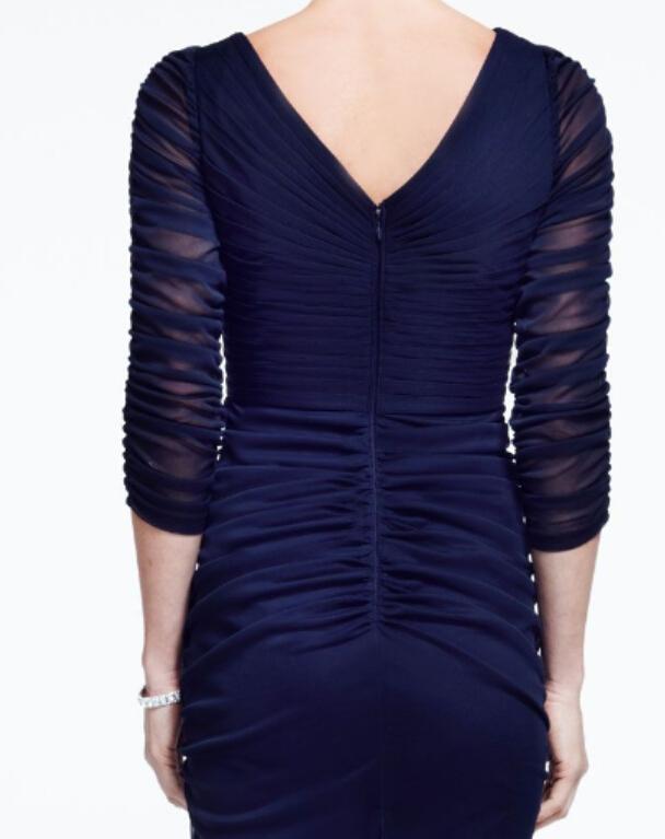 Seksowna szyfonowa iluzja 3/4 Długim rękawem Rękana Sukienka z Zdobienie boczną V-Black Matką panny młodej Suknie Wieczorowe Formalna Suknia