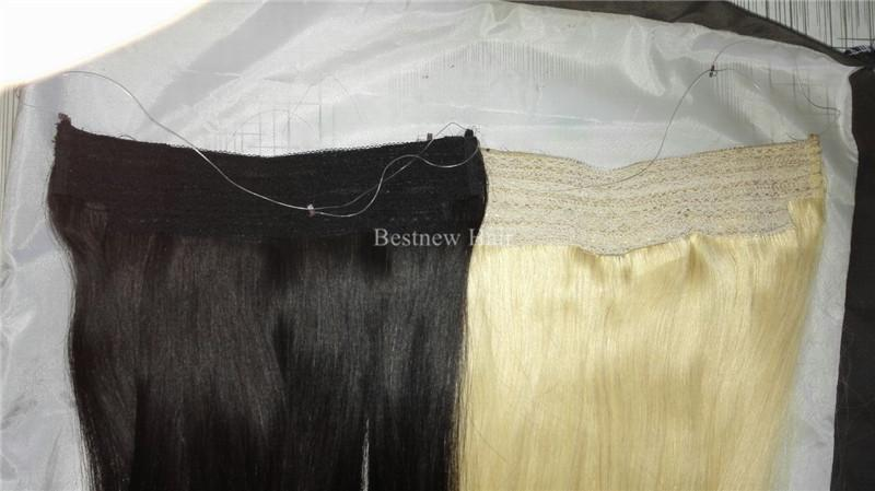 Remy Indian Remy Hair No Clips Halo Flip in Hair Extensions, 100G Color #1b Natural Black Easy Fish Line Hair Weaving Wholesale Price