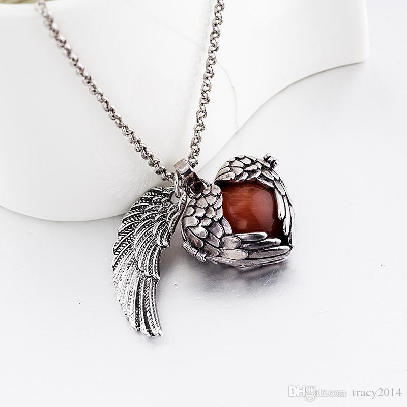 Hot pregnancy necklace Harmony bola pendant necklaces Double wing silver gold wishing bell pendant necklace gifts Baby Angel caller