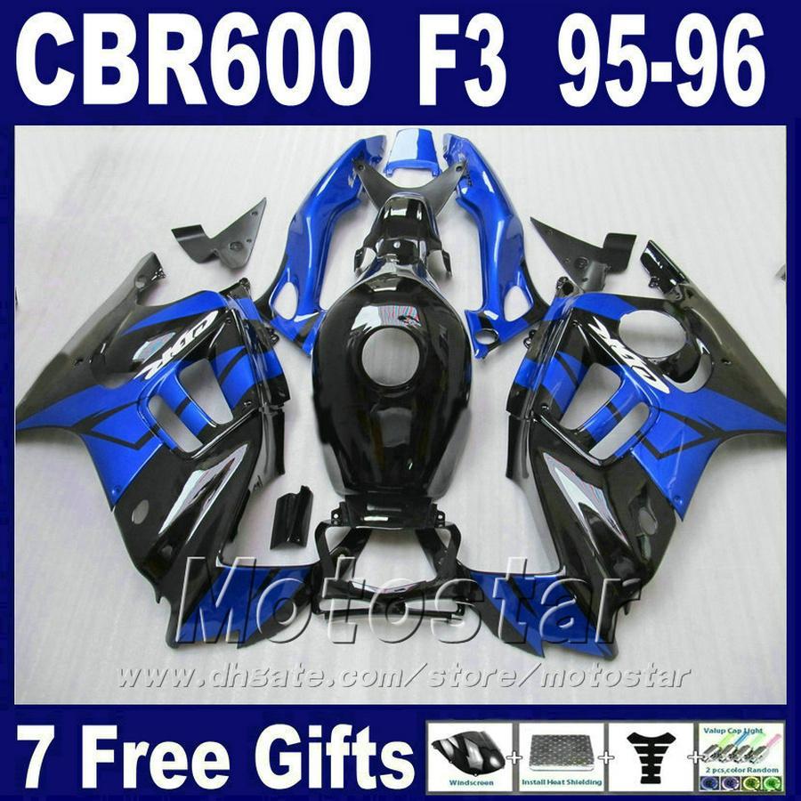 7 eşyalar + Ücretsiz Tank 95 96 HONDA CBR 600 F3 marangozluk için set mavi siyah cbr600 f3 1995 1996 fairing kitleri BJUA