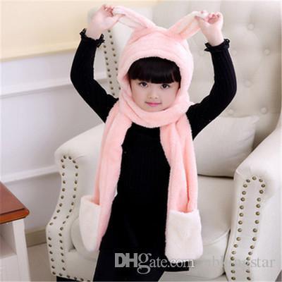 Crianças Inverno Quente Velo Coelho Capa Scarf 3 em 1 Luvas Earflap Hat Animal Longo Cachecol para Crianças 5 pçs / lote