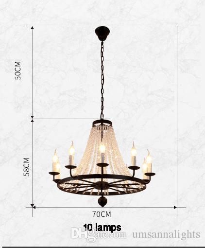 American Country Crystal Chandelier Lamps Retro Chandeliers Lights Fixture European Home Indoor Lighting Dining Room Parlor Restaurant Light