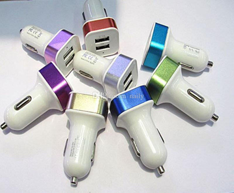 Hot Sale Color Dual ports Mini USB Car Chargers Metal Car Charger Adapter with Retail Package