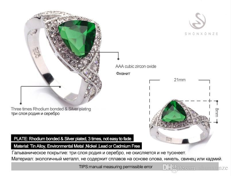 Shunxunze produtos de primeira classe Boémia anéis de Casamento Acessórios de joalharia para mulheres lançando Peridot zirconia cúbica Ródica banhada a R562