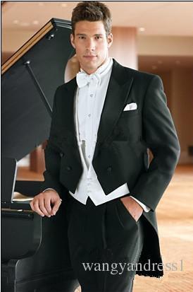 En çok satan Özelleştirilmiş Düğün Takımları Damat Tailcoat Yakışıklı Takım Elbise Resmi Takım Elbise İyi Adam Giymek Sağdıç takımları Ceket + Pantolon + Yelek