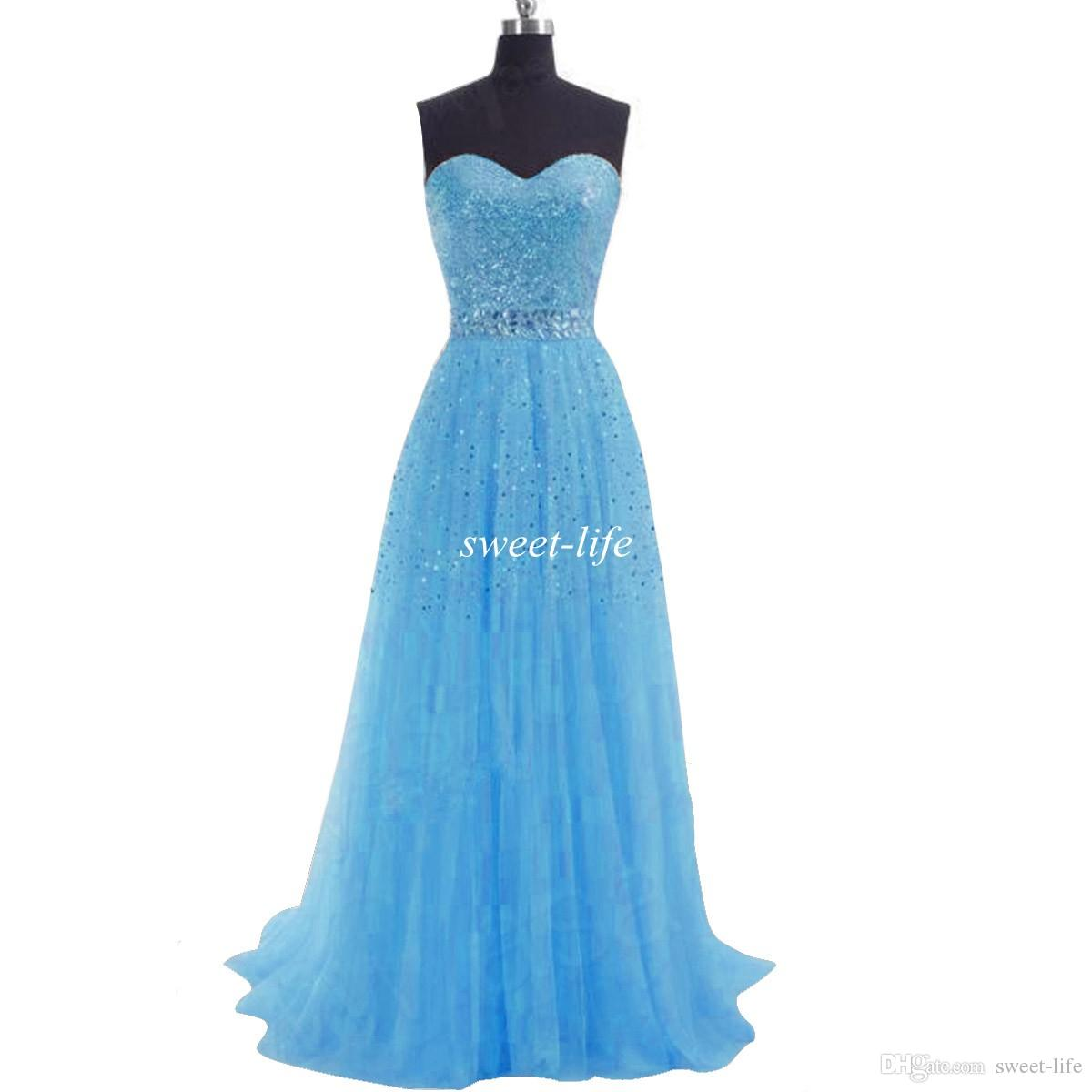 EN STOCK 2019 Vestidos de baile largos baratos Lentejuelas Una línea de tul de tul con cordones Vestidos de dama de honor de fiesta de coral azul lila Vestidos de noche
