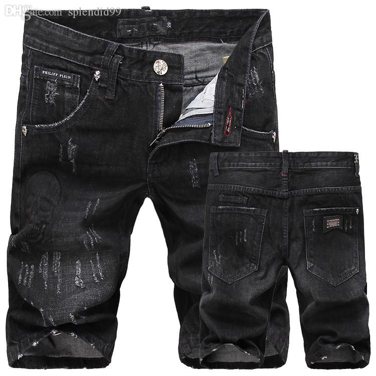 black ripped jean shorts mens