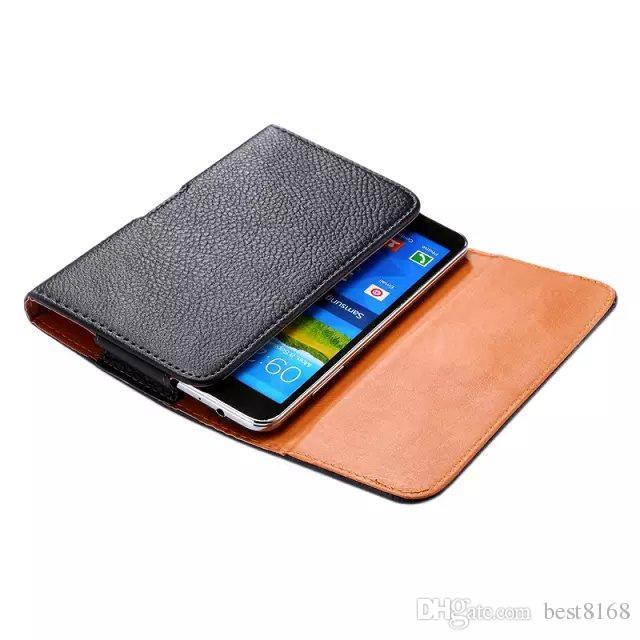 Titular coldre de cinto de couro de transporte Clipe de luxo Pouch Tampa Litchi Leechee padrão capa para Samsung Galaxy mega 6,3 I9200 tampa da pele Preto