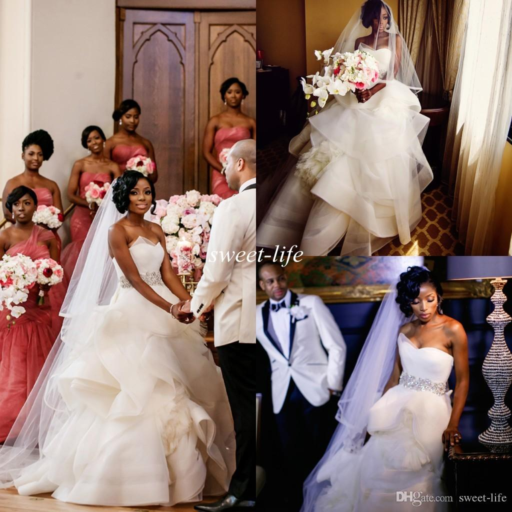 2016 Nigerian Wedding Dresses Ball Gown Strapless Princess Fluffy Tulle Crystal Sash Backless Custom Made Luxury Church Spring Gowns