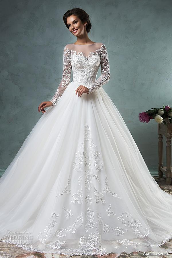Sheer Bateau Long Sleeve Wedding Dresses 2016 Amelia Sposa Vintage Lace Illusion Back Covered Buttons Ball Bridal Gowns Ivory Court Train