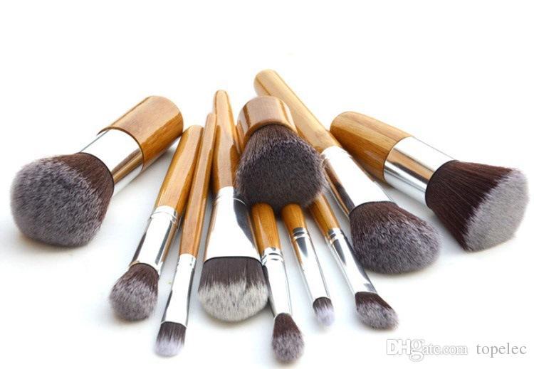 في المخزون 11 قطع المهنية المكياج أدوات pincel maquiagem الخشب مقبض ماكياج التجميل عينيه مؤسسة خافي فرشاة مجموعة كيت # 71731