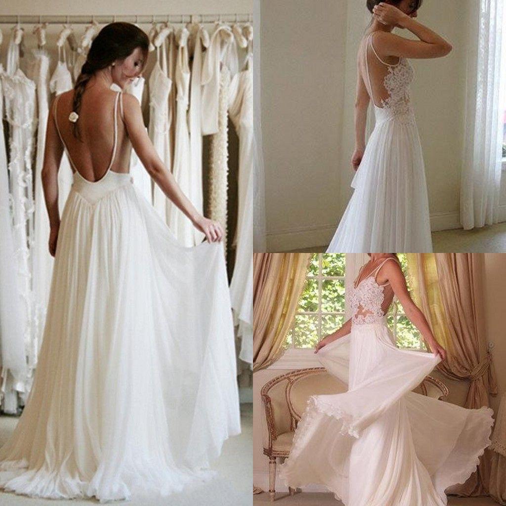 Greek Style Boho Bohemian Wedding Dresses Spaghetti Straps: Discount 2015 Boho Beach Wedding Dresses Spaghetti Straps