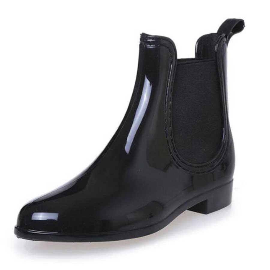Rubber Boots Waterproof Trendy Jelly Women Ankle Rain Boot Elastic ... 42026b16ae