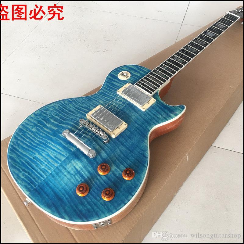 جيتار أزرق غامق مع قطعة واحدة للجسم ، ربط خشب ، خشب الأبنوس الفريتس مع ترصيع Real Abalone ، صور حقيقية لشو للغيتار الحقيقي
